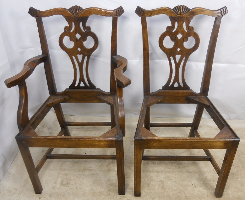 Set Of Twelve Antique Chippendale Style Oak Dining Chairs